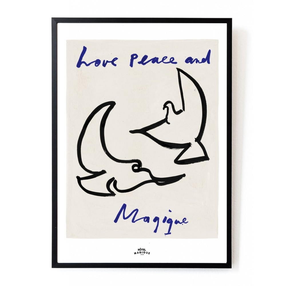 Plakat Love peace and Magique A3 HOTEL MAGIQUE