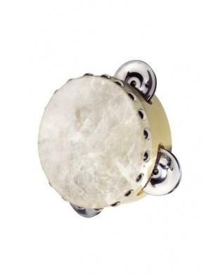 Tamburyn z 3 dzwonkami, skóra naturalna Goki