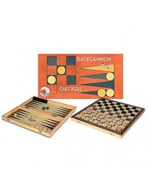 Drewniane gry logiczne 2w1 Warcaby + Backgammon Egmont Toys®