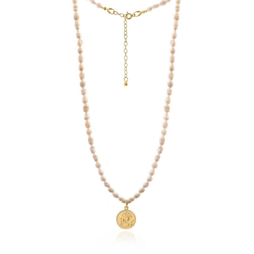NECKLACE WITH PEARLS AND COIN GOLD WISHBONE