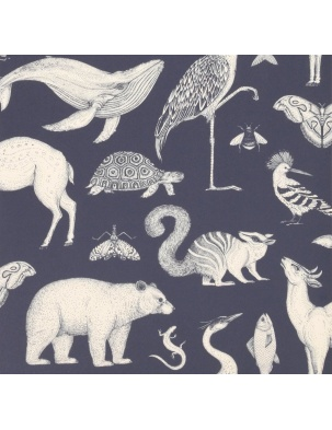 Tapeta Katie Scott Wallpaper - Animals Dark Blue FERM LIVING