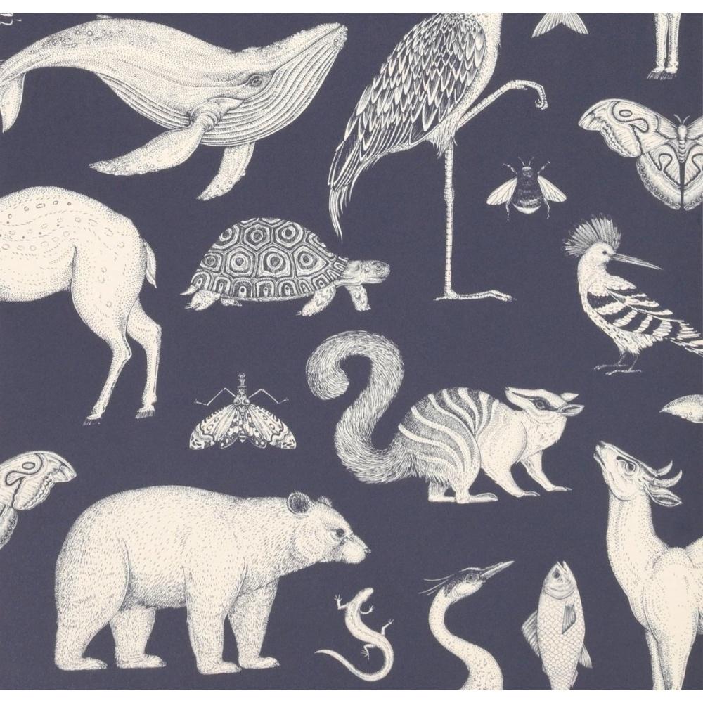 Tapeta Katie Scott Wallpaper - Animals Dark Blue FERM LIVING