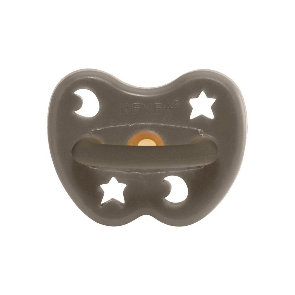 Anatomiczny smoczek kauczukowy Księżyc/Gwiazdki Shiitake Grey HEVEA