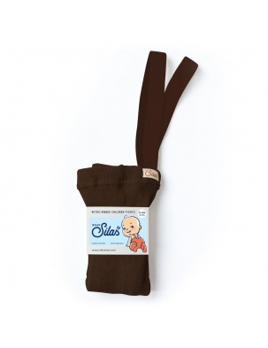 Rajstopy z szelkami Retro Ribbed Children Tights CHOCOLATE BROWN SILLY SILAS