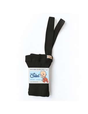 Rajstopy z szelkami Retro Ribbed Children Tights BLACK SILLY SILAS