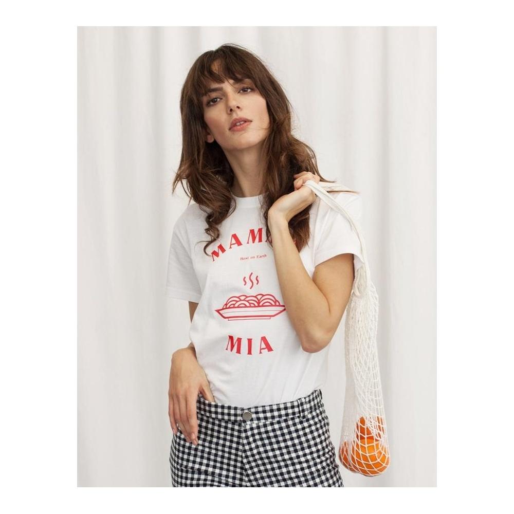 T-shirt damski z bawełny organicznej MAMMA MIA WOMOM