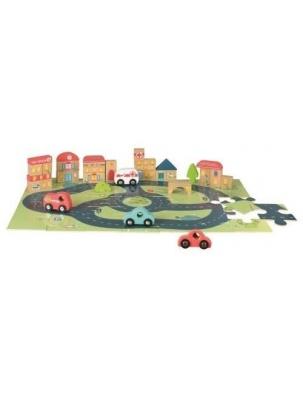 Drewniane puzzle miasto i samochodziki Egmont Toys
