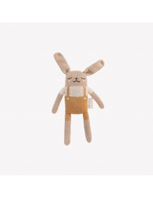 Bunny knit toy ochre Main Sauvage