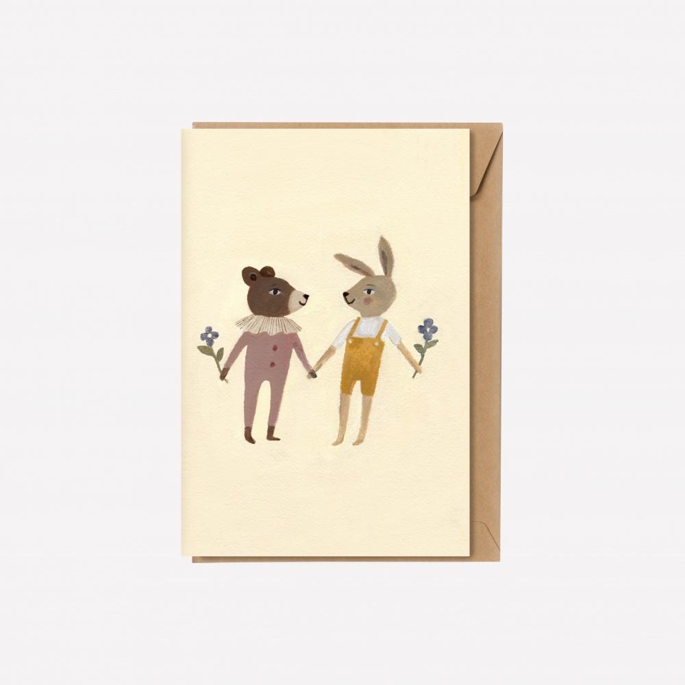 Kartka teddy and bunny Main Sauvage