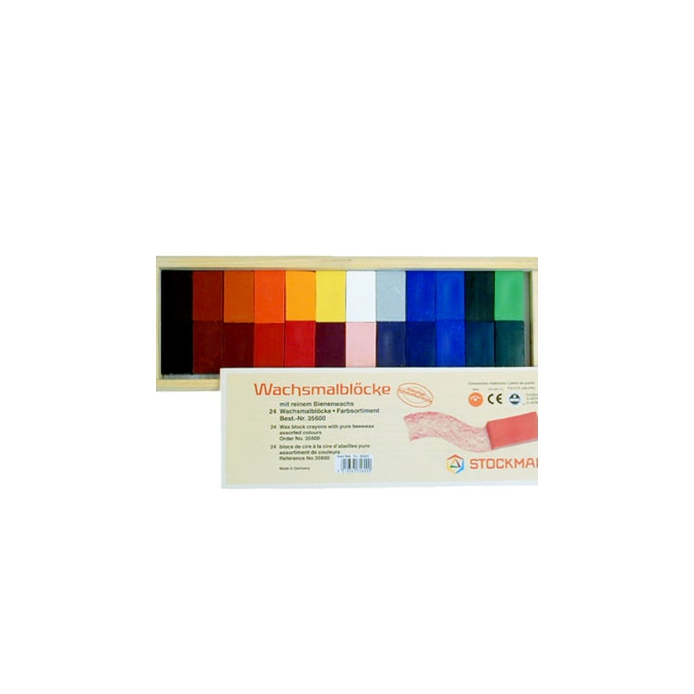 Nietoksyczne bloczki woskowe w drewnianym opakowaniu 24 kolory STOCKMAR