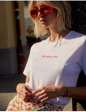 T-shirt z bawełny organicznej THE REAL LIFE WOMOM