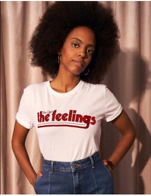 T-shirt z bawełny organicznej DON'T FIGHT THE FEELINGS WOMOM