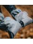 Rękawiczki Mufki do wózka z wełną dwuczęściowe Jasny Szary Melanż ZAFFIRO