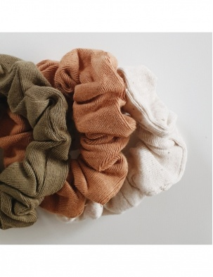 3-pak mini gumek Scrunchie Leaf, Sunkissed, Cotton Speckled SUSUKOSHI