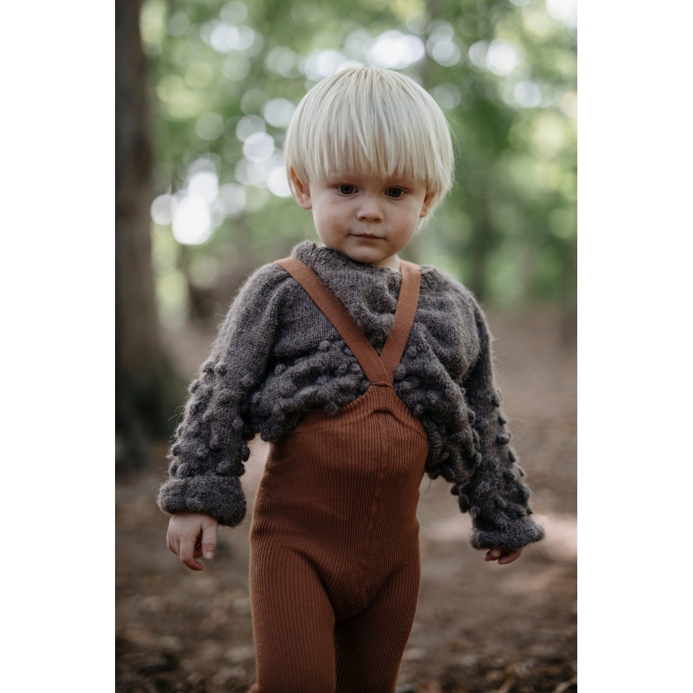 Rajstopy z szelkami Retro Ribbed Children Tights CINNAMON SILLY SILAS