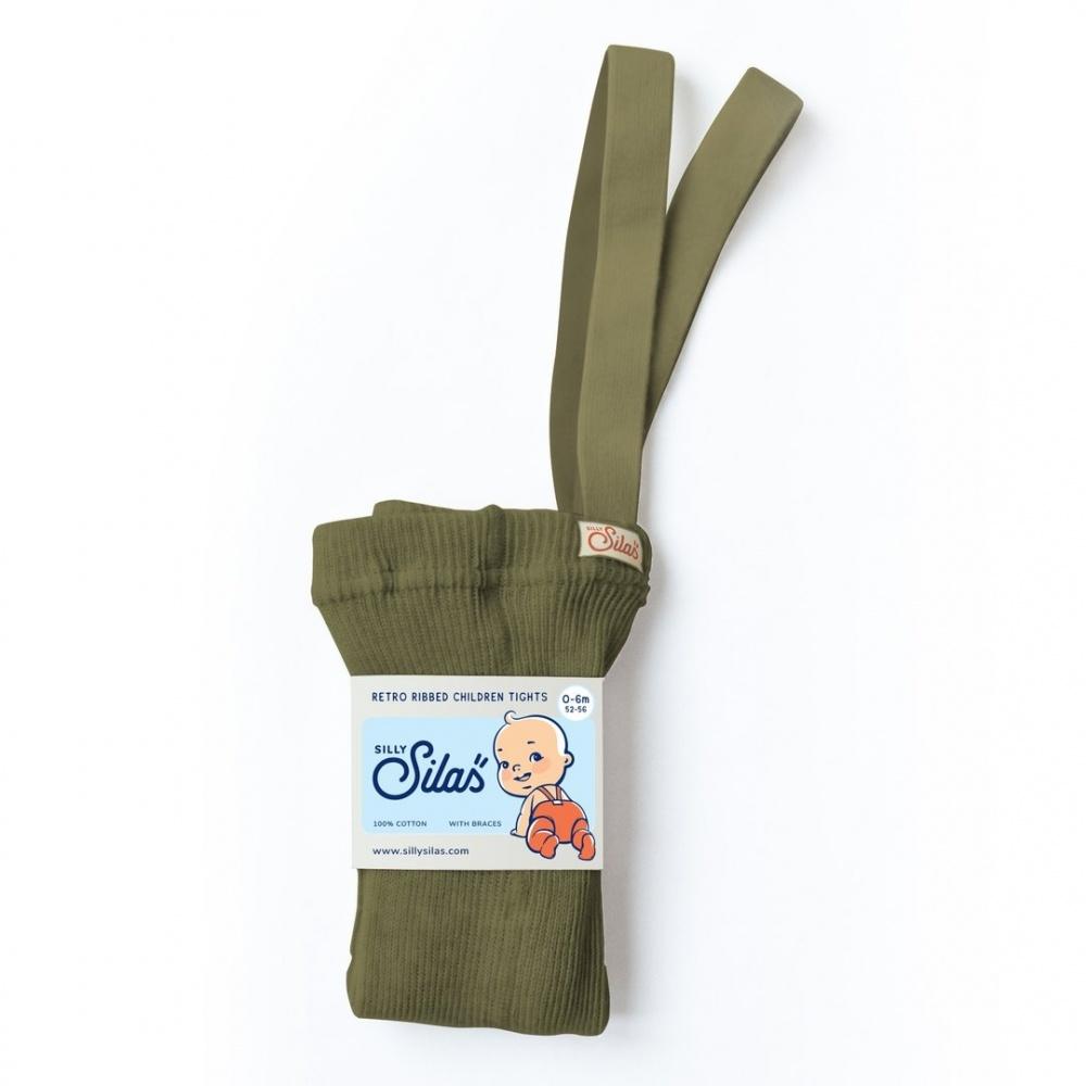 Rajstopy z szelkami Retro Ribbed Children Tights OLIVE  SILLY SILAS