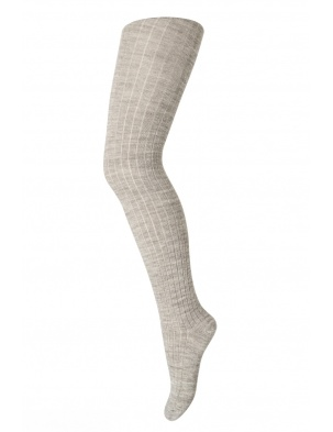 Wełniane rajstopy RIB WOOL TIGHTS LIGHT BROWN MELANGE mp Denmark