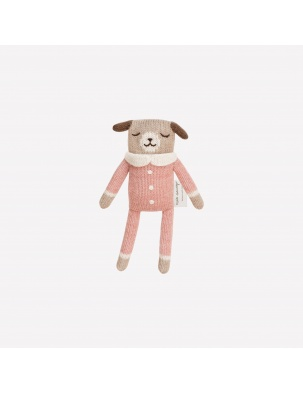 Puppy knit toy rose Main Sauvage