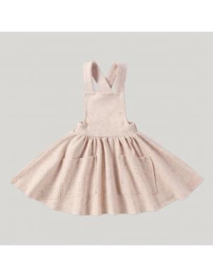 Sukienka z szelkami z bawełny organicznej Pinafore BEIGE SPECKLED SUSUKOSHI