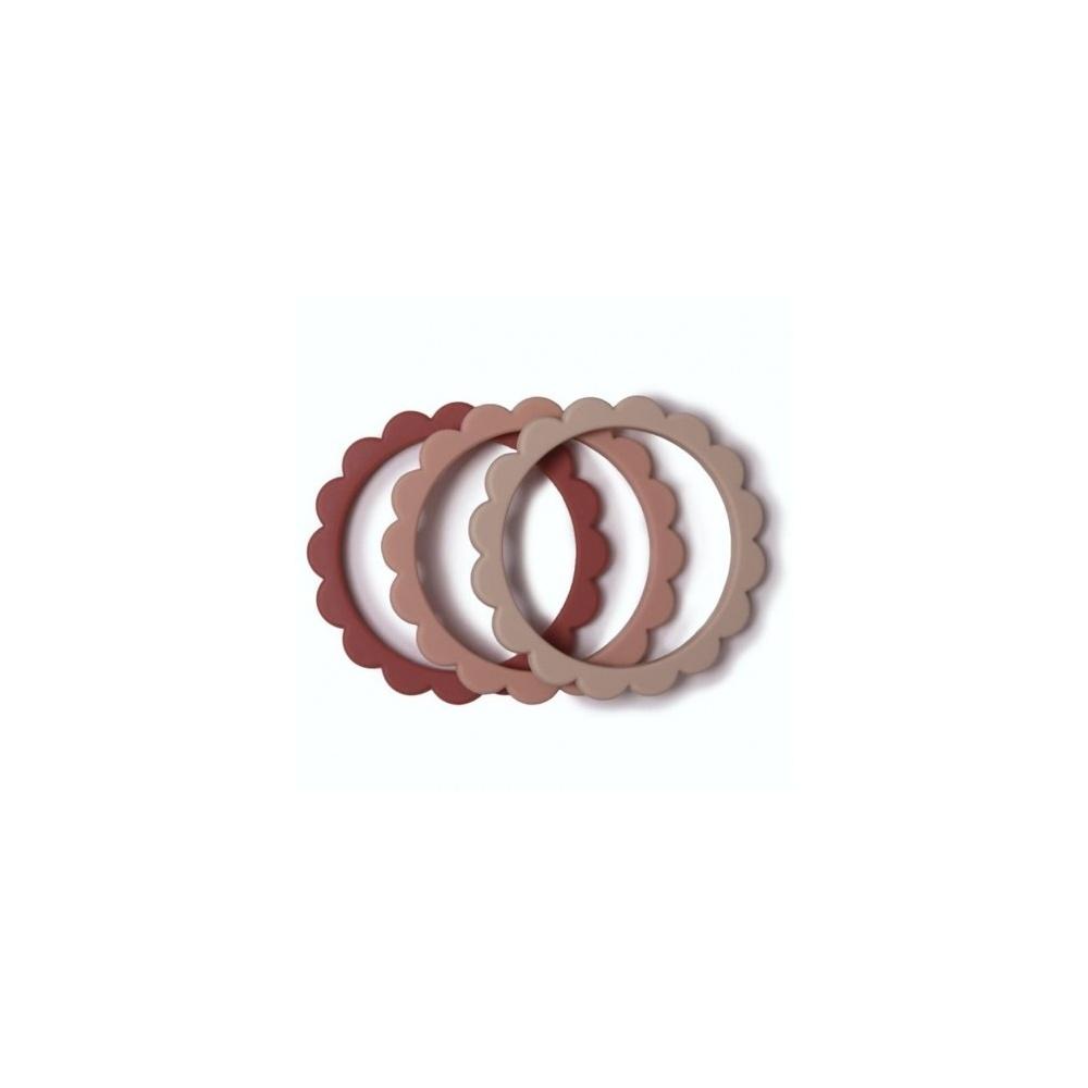 3 gryzaki silikonowe bransoletki FLOWER Rose & Blush & Shifting Sand MUSHIE