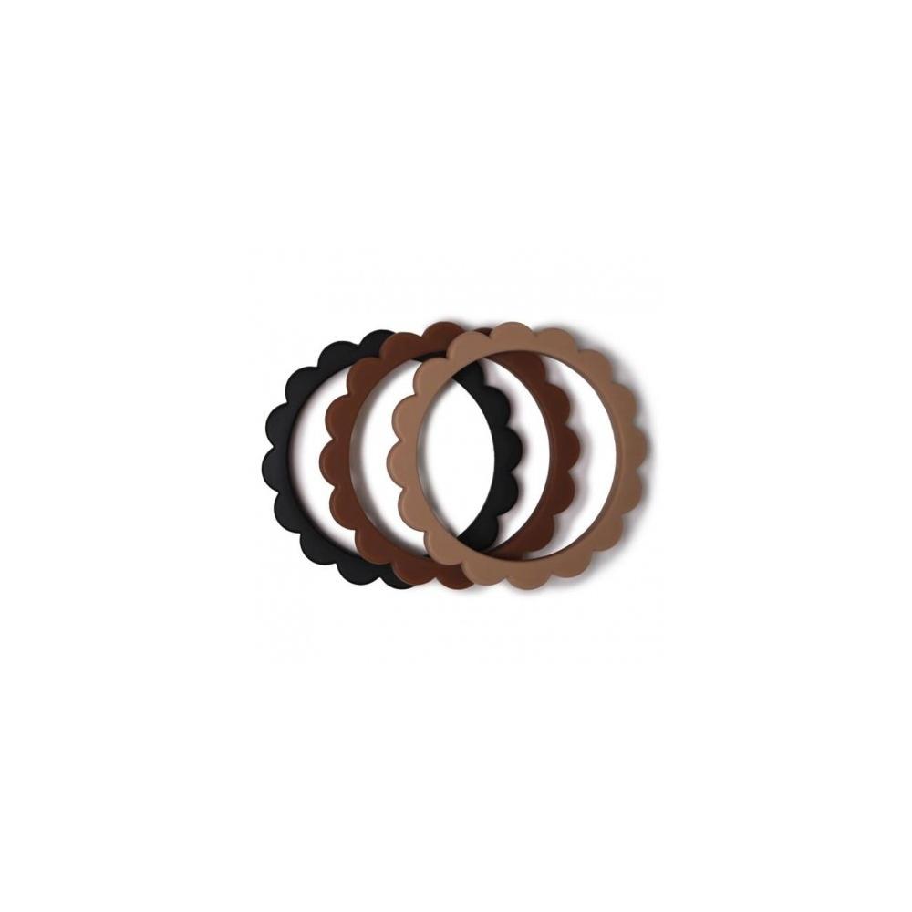 3 gryzaki silikonowe bransoletki FLOWER Black/Caramel/Natural MUSHIE