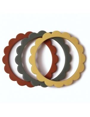 3 gryzaki silikonowe bransoletki FLOWER Clay & Dried Thyme & Sunshine MUSHIE