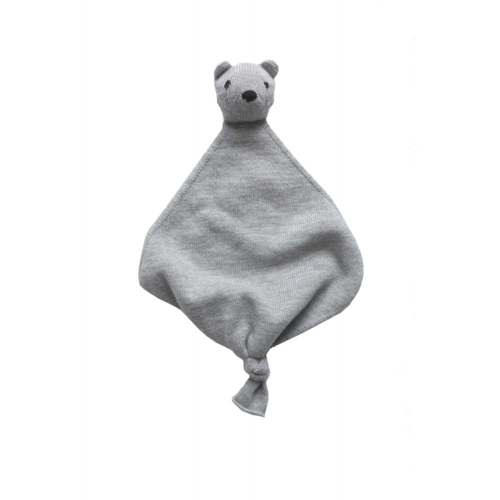 Przytulanka z wełny merino Teddy Tokki Grey Melange Hvid