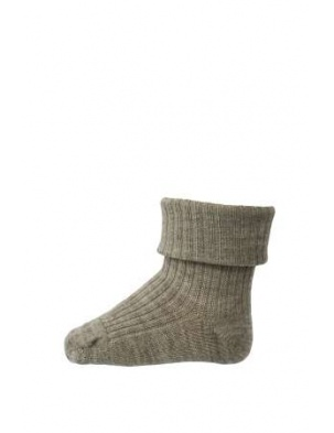 Wełniane Skarpetki ANKLE WOOL RIB TURN DOWN Light Brown mp Denmark