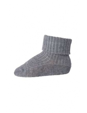 Wełniane Skarpetki ANKLE WOOL RIB TURN DOWN Grey Melange mp Denmark