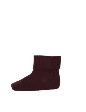 Wełniane Skarpetki ANKLE WOOL RIB TURN DOWN Aubergine mp Denmark