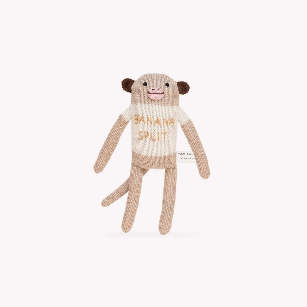 """Przytulanka małpka z alpaki """"banana split"""" Main Sauvage"""