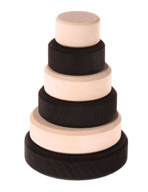 Czarno-biała stożkowa wieża, kolekcja naturalna, 0+, Grimm's