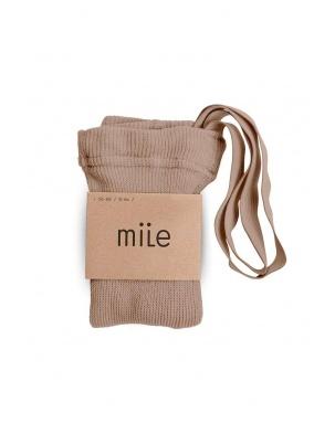 Rajstopy z szelkami brązowo beżowy Mile
