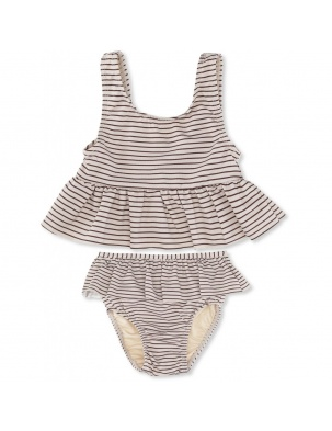 PREORDER Strój Kąpielowy SOLEIL GIRLS BIKINI STRIPED BORDEAUX/NATURE Konges Sloejd