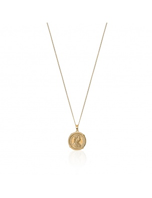 MEDALLION NECKLACE GOLD WISHBONE