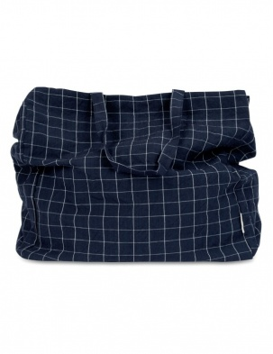 TORBA SHOPPER NAVY CHECK STUDIO FEDER