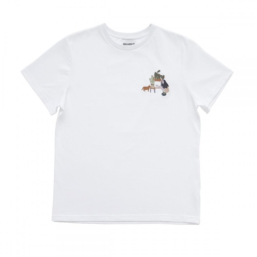 Bawełniany t-shirt z haftem kotek MOMU WARSAW