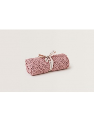 Kocyk Berry Pink Croshet Cotton/Wool Garbo&Friends