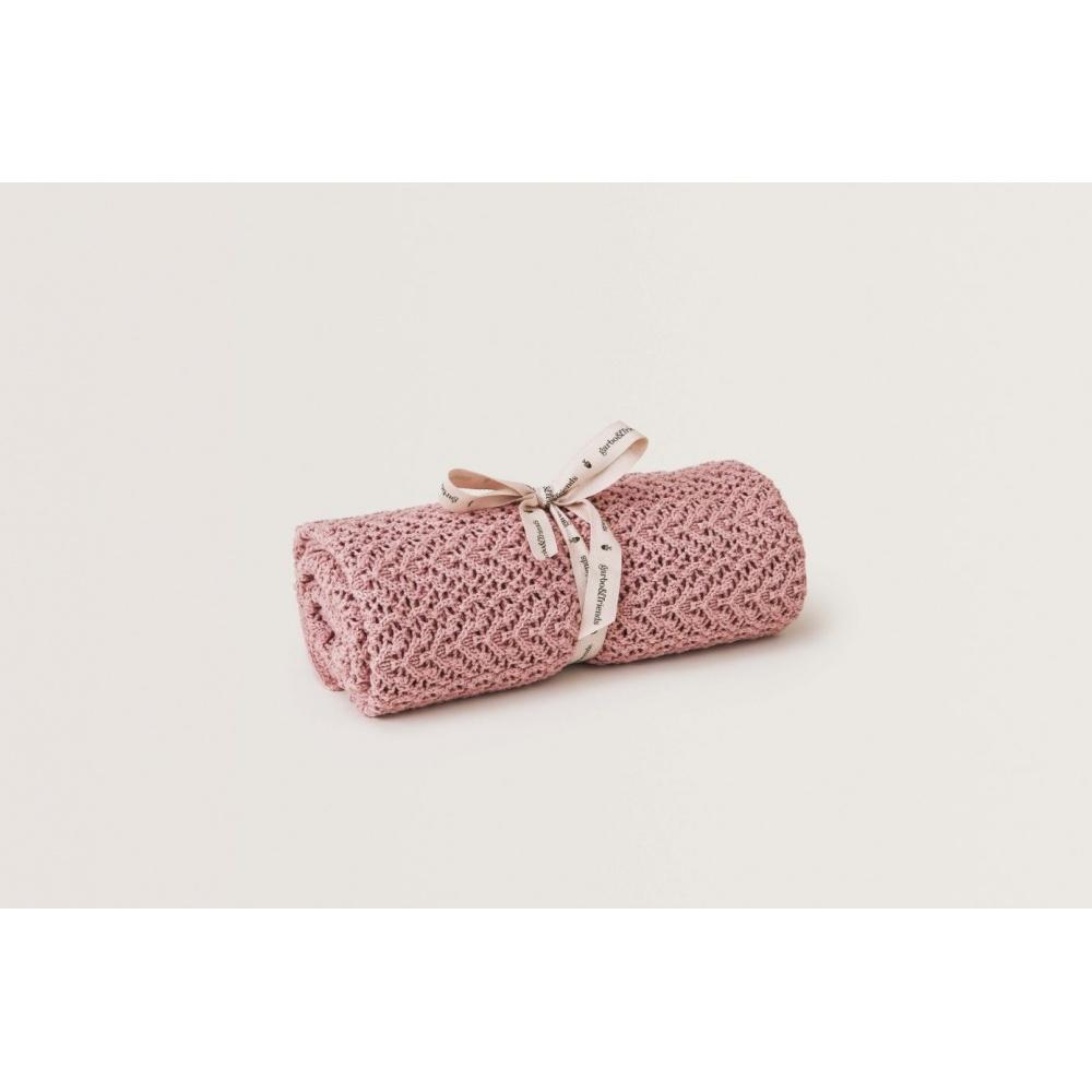 Kocyk Berry Pink Croshet Cotton/Wool Garbo&Friends