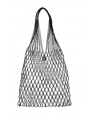 Linen Knotted Net Bag Black ROBOTY RĘCZNE