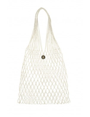 Linen Knotted Net Bag Cream ROBOTY RĘCZNE