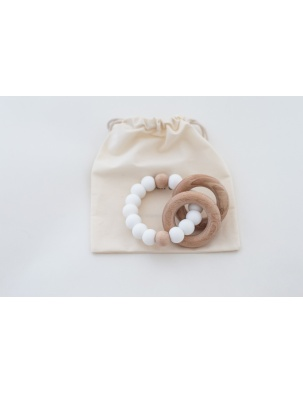 Gryzak - Grzechotka SEDONA TEETHING RING/RATTLE WHITE GRECH&CO