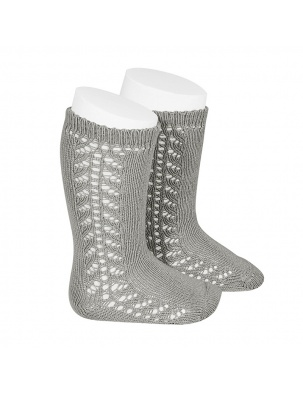 Podkolanówki SIDE OPENWORK KNEE-HIGH WARM-COTTON SOCKS ALUMINIUM Condor