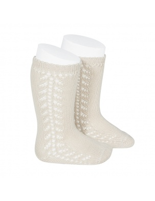 Podkolanówki SIDE OPENWORK KNEE-HIGH WARM-COTTON SOCKS LINEN Condor