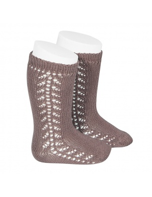Podkolanówki SIDE OPENWORK KNEE-HIGH WARM-COTTON SOCKS PRALINE Condor