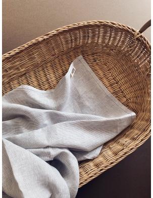 Otulacz lniany grey stripes lille