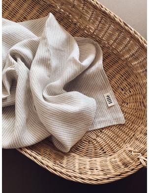 Otulacz lniany beige stripes lille