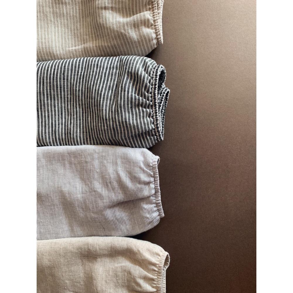 Prześcieradło lniane grey stripes lille