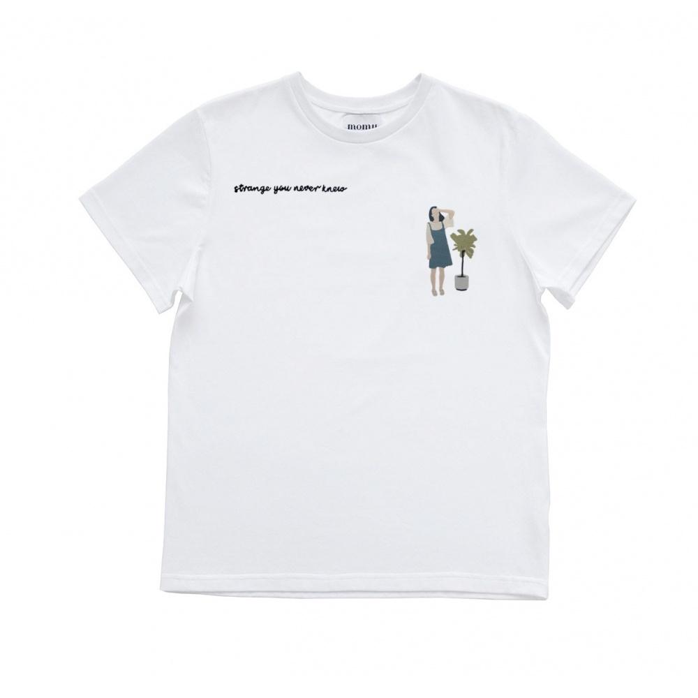 Bawełniany t-shirt z haftem you never knew MOMU WARSAW