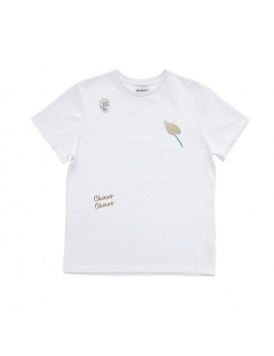 Bawełniany t-shirt z haftem anturium MOMU WARSAW
